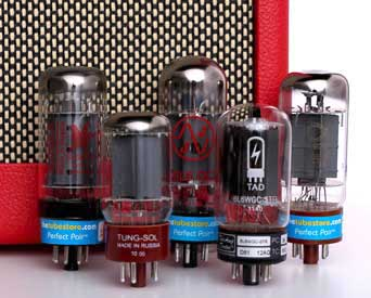 6L6 Audio Vacuum Tubes With Red Amp