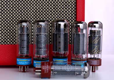 EL34 Audio Vacuum Tubes With Red Amp