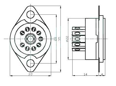tube base diagrams www.thetubestore.com - 9 pin tube socket (no shield) #1