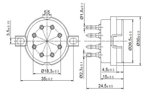 8 Pin Porcelain (Ceramic) Gold Tube Socket  Pin Relay Socket Wiring Diagram on 8 pin connector wiring diagram, 8 pin relay pinout, 8 pin relay base schematic, 5 pin relay wiring diagram, 8 pin timer relay wiring,
