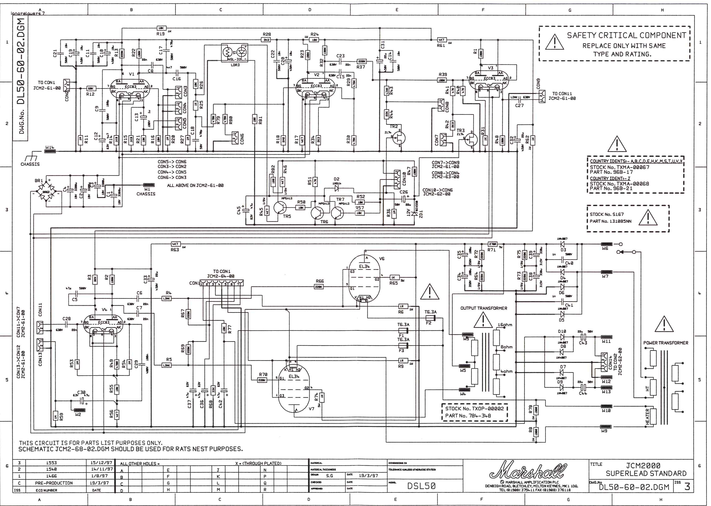 Marshall JCM2000 DSL50 Schematic www thetubestore com marshall amp schematics Marshall 2204 Kit at n-0.co